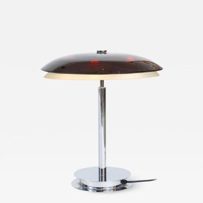 Fontana Arte Fontana Arte Bis Table Lamp with Chrome Base and Black Glass Italy 1960s