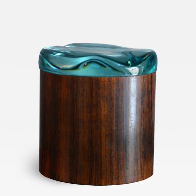 Fontana Arte Fontana Arte Circular Lid Box In Wood And Glass Italy Before 1948