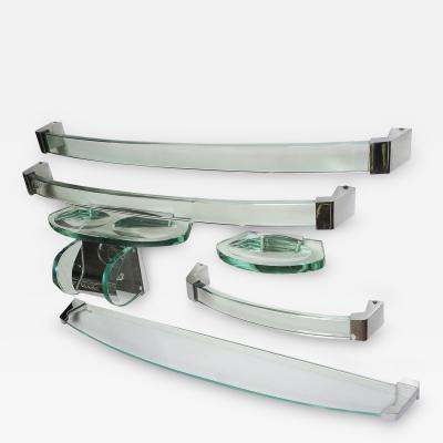 Fontana Arte Fontana Arte Glass and Chrome Bath Accessory Set