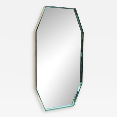 Fontana Arte Fontana Arte Green Glass And Brass Octagonal Mirror