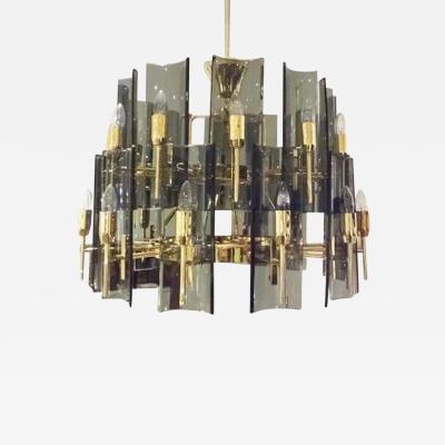 Fontana Arte Fontana Arte Large Multi Light Two Tier Chandelier Italy Circa 1959