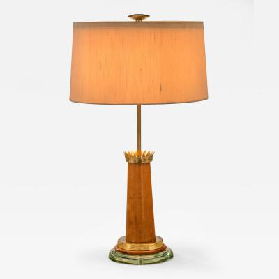 Fontana Arte Fontana Arte Rare Example of a Wood Brass and Glass Table Lamp