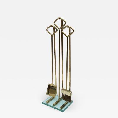 Fontana Arte Fontana Arte Style Brass And Glass Fireplace Tools