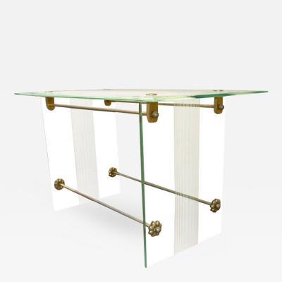 Fontana Arte Fontana Arte Vintage Coffee Table in Engraved Glass and Bronze