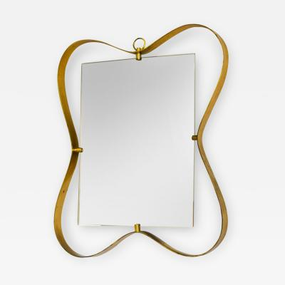 Fontana Arte Fontana Arte Wall Mirror with Frame in Brass