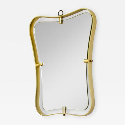 Fontana Arte Fontana Arte Wall Mirror with Frame in Shaped Brass