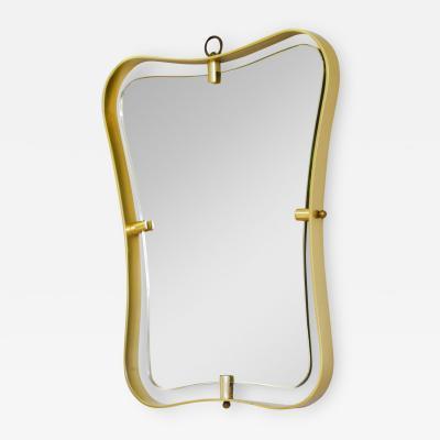 Fontana Arte Fontana Arte Wall Mirror with Frame in Shaped Brass