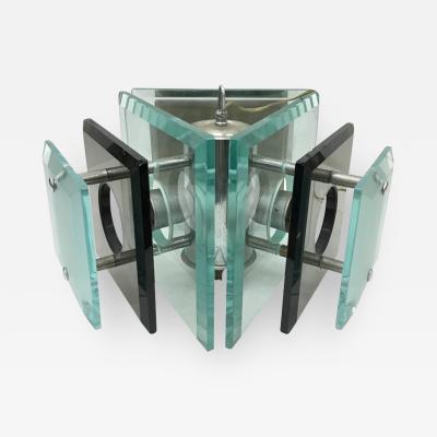 Fontana Arte Fontana Arte style italian1970s Steel and Glass Pendant