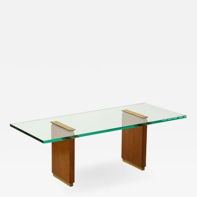 Fontana Arte Glass Top Low Table with Oak Supports and Brass Fittings Italy c 1955