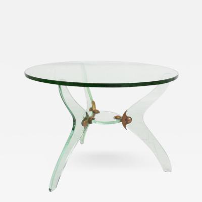 Fontana Arte Glass and Bronze Coffee Table Attributed Fontana Arte Italian Mid Century Modern