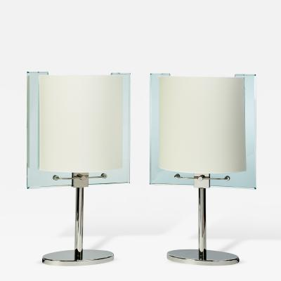 Fontana Arte Important Pair of Fontana Arte Glass Table Lamps ca 1990