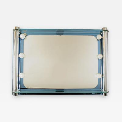 Fontana Arte Italian 1940s Horizontal Blue Glass Wall Mirror