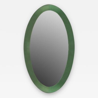 Fontana Arte Italian 1940s Large Tinted Light Green Glass Framed Oval Wall Mirror