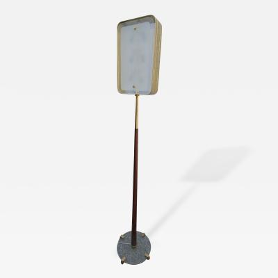 Fontana Arte Italian 1960s Fontana Arte Style Glass and Brass Floor Lamp