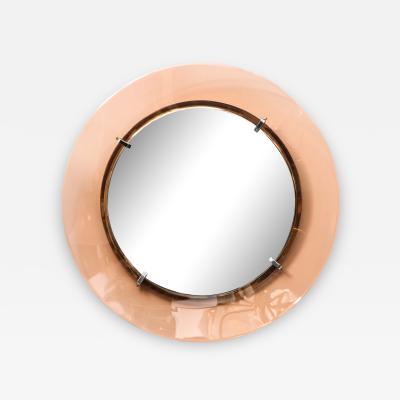 Fontana Arte Italian Circular Mirror with Blush Glass Frame