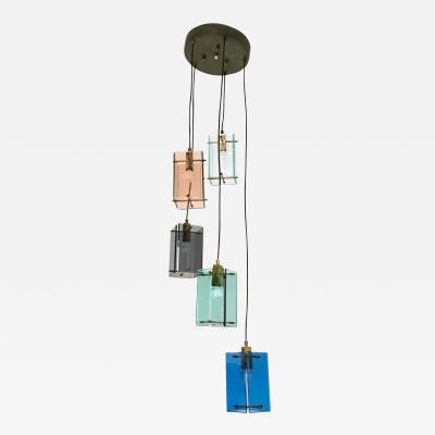 Fontana Arte Italian Five Light Pendant in the Style of Fontana Arte 1960s