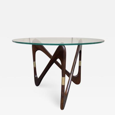 Fontana Arte Italian Mid Century Wood and Brass Coffee Table by Fontana Arte Italy 1950s