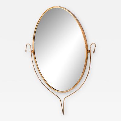 Fontana Arte Italian Regency Sculpted Modern Brass Oval Wall Mirror Style Fontana Arte 1950s