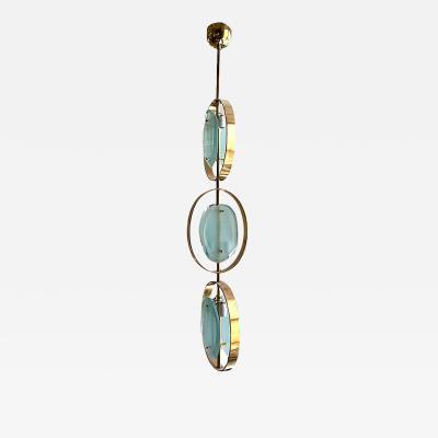 Fontana Arte MID CENTURY MODERN MURANO GLASS BRASS PENDANT CHANDELIER