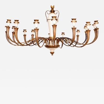 Fontana Arte Majestic 16 Arm Ornate Chandelier style of Fontana Arte Italy Modernism 1950s