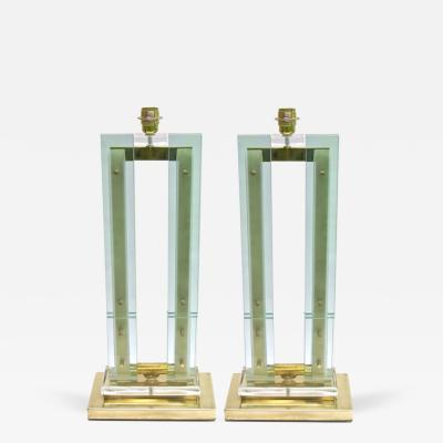 Fontana Arte Modern Italian Grand Size Pair of Fontana Arte Style Aqua Glass and Bronze Lamps