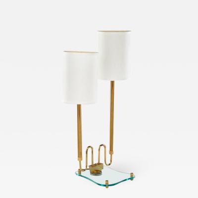 Fontana Arte Modernist brass and glass lamp in the style of Fontana Arte