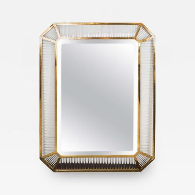 Fontana Arte Monumental Italian Glass Rod and Brass Framed Mirror attributed to Fontana Arte