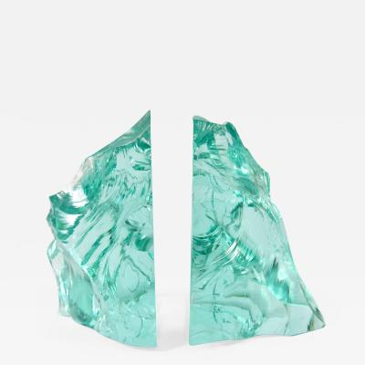 Fontana Arte Pair of 1960s Italian green glass bookends in the style of Fontana Arte