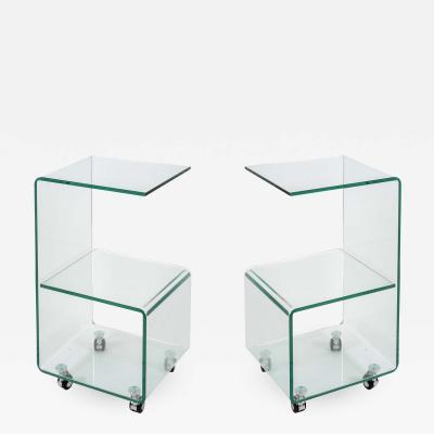Fontana Arte Pair of 1980s Glass table in the style of Fontana Arte