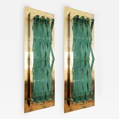 Fontana Arte Pair of Brass Sconces Attributed to Fontana Arte