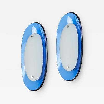 Fontana Arte Pair of Fontana Arte Blue Glass Oval Sconces 1960s