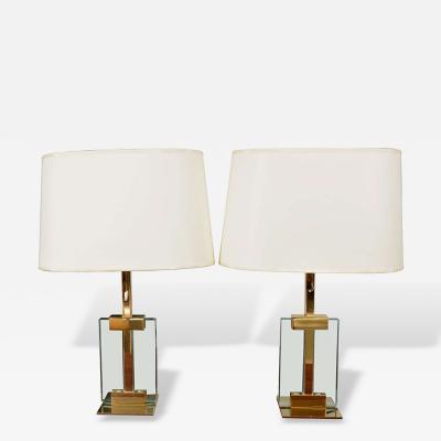 Fontana Arte Pair of Fontana Arte Glass Table Lamps
