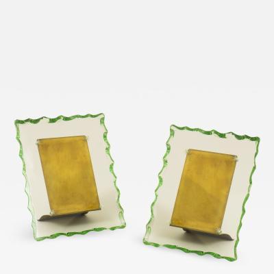 Fontana Arte Pair of Italian 1950s glass and brass photo frames in the style of Fontana Arte