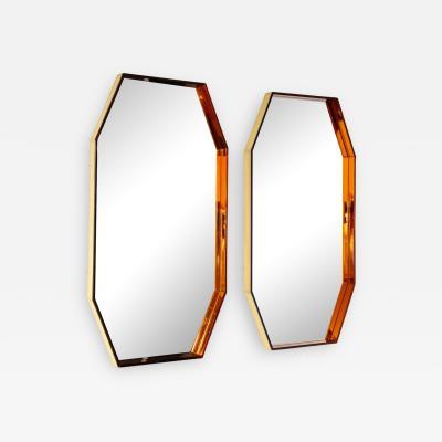 Fontana Arte Pair of Octagonal Wall Mirrors 2355 by Fontana Arte
