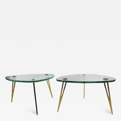 Fontana Arte Pair of Rare Glass and Bronze Side Tables Three Feet Attributed to Fontana Arte