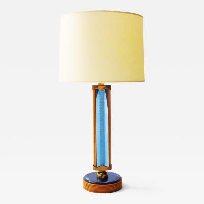 Fontana Arte Pietro Chiesa for Fontana Arte Table Lamp in Cut Blue Mirror and Cherry