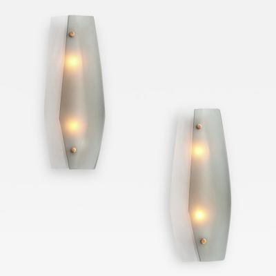 Fontana Arte Rare Pair of Two Tone Sconces by Fontana Arte