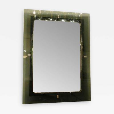 Fontana Arte Rectangular Wall Mirror in Grey Glass by Fontana Arte circa 1970