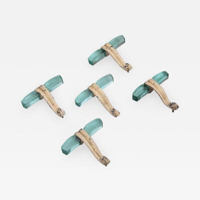Fontana Arte Set of Five Italian Glass and Metal Coat Hangers in Fontana Arte Style