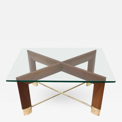 Fontana Arte Walnut and Glass Coffee Table in the Style of Fontana Arte Italy 1970s