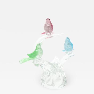 Formia Murano 1970s Formia Murano Glass Birds Sculpture
