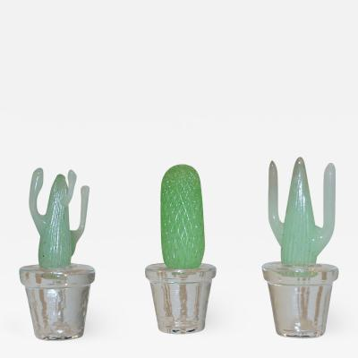 Formia Murano 1990s Marta Marzotto Miniature Green Murano Glass Cactus Plants by Formia