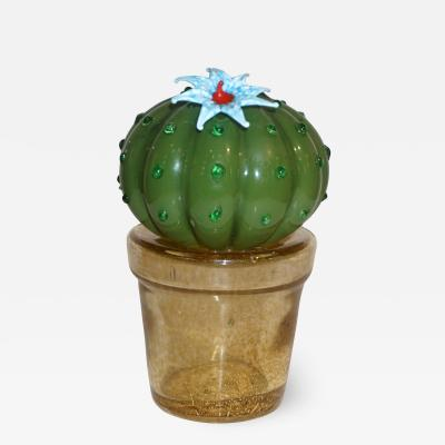 Formia Murano 1990s Vintage Italian Green Murano Glass Small Cactus Plant with Blue Flower