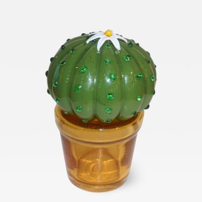 Formia Murano 1990s Vintage Italian Green Murano Glass Small Cactus Plant with White Flower