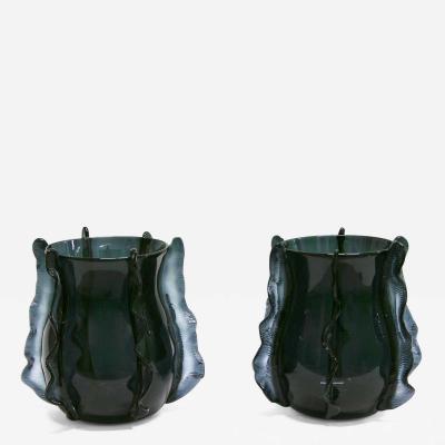 Formia Murano 2009 Rare Italian Pair of Organic Avio Blue Murano Glass Vases by Formia