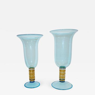 Formia Murano Formia 1970s Italian Set of 2 Aquamarine Amber Clear Murano Glass Vases on Foot