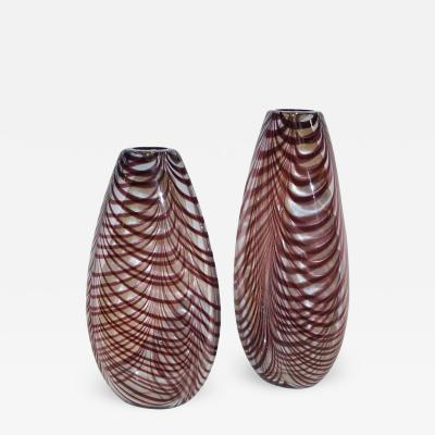 Formia Murano Formia 1970s Two Fenicio Feather Decorated Purple Brown Murano Art Glass Vases