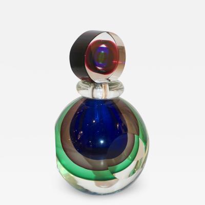Formia Murano Formia 1990s Modern Italian Organic Green Blue Grey Murano Glass Round Bottle