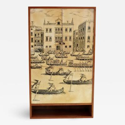 Fornasetti Style Wood Cabinet Venezia 1950