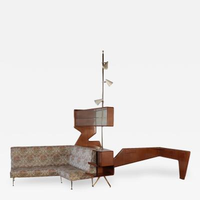 Forniture Mahogany Veneer Brass Glass Foam Padding and Fabric 1950s
